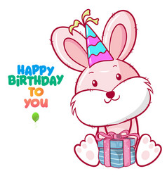 greeting birthday card with cute fox vector image
