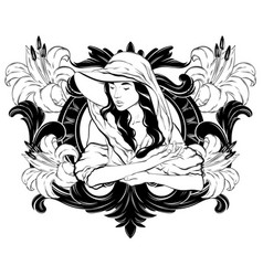hand drawn girl in hat and vector image