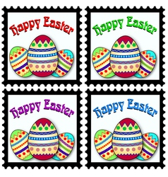 Happy easter eggs stamps vector