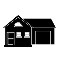 House modern style with garage pictogram vector