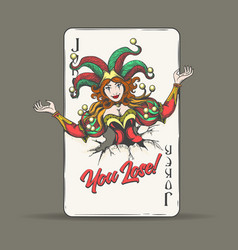 Joker playing card with wording you lose vector
