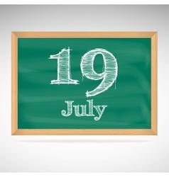 July 19 day calendar school board date vector