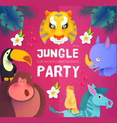 jungle party cute exotic animals design children vector image
