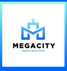 Letter m line city logo vector
