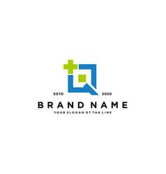Letter q cross plus hospital medical logo design vector