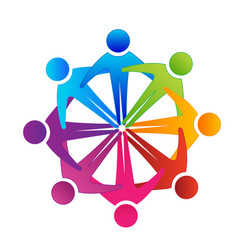 logo teamwork unity people embraced vector image