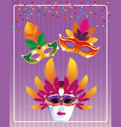 mari gras masks vector image
