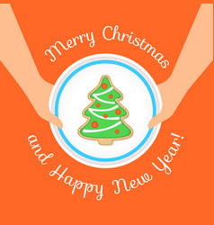merry christmas greeting with gingerbread cookie vector image