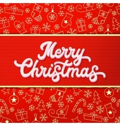 Merry christmas white 3d xmas lettering vector