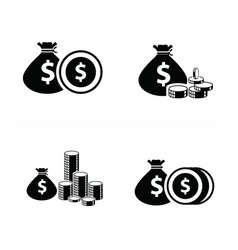 Money bag and coins set vector