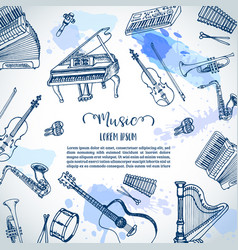 Music instruments background music festival vector