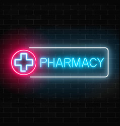 Neon pharmacy glowing signboard on brick wall vector
