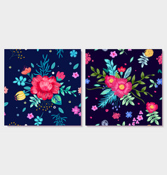 ornamental floral background with colorful flowers vector image