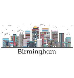 Outline birmingham alabama city skyline vector