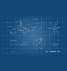 Outline blueprint military helicopter vector
