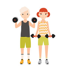 pair of kids dressed in sportswear doing exercise vector image