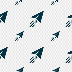 Paper airplane icon sign Seamless pattern with vector image