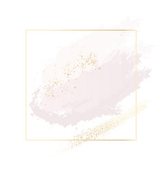 pastel rose and pink brush strokes and gold lines vector image