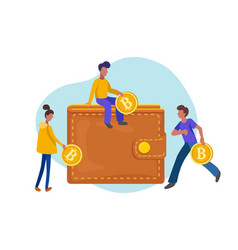 people carrying gold coins in bitcoin walletflat vector image