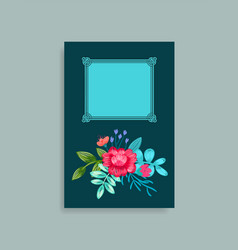 Photo album cover design hand drawn pink flowers vector