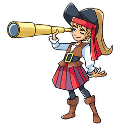 Pirate girl with spyglass vector