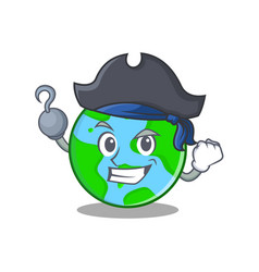 Pirate world globe character cartoon vector