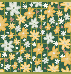 random seamless doodle pattern with daisy vector image