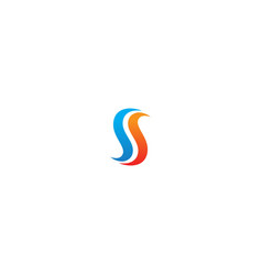 s initial colorful wave logo vector image