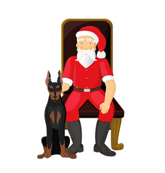 santa claus with dog on white background santa vector image