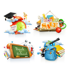 school concepts 3d set vector image
