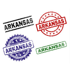 scratched textured arkansas seal stamps vector image