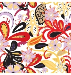Seamless backgroundColorful flowers and leafs on vector image