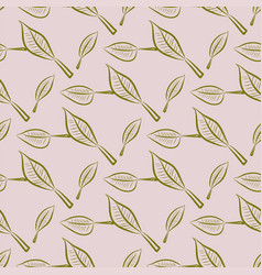 Seamless leaves background abstract hand drawn vector