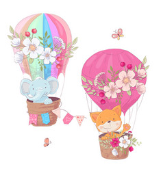 set cartoon cute animals fox and elephant vector image