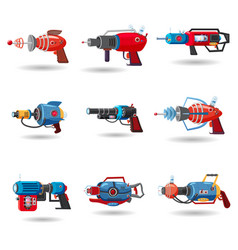 Set cartoon retro space blaster ray gun laser vector