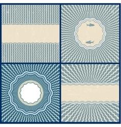Set of retro blue wavy back vector image