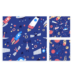 set space seamless pattern print design flat vector image