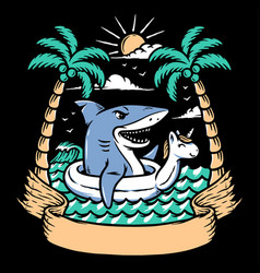shark relaxing on beach vector image