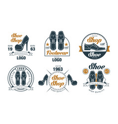 shoe shop logo design collection footwear premium vector image