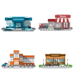 Shop Buildings Icons Set vector