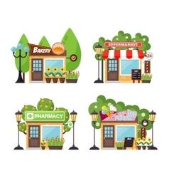 Shop facade set vector image
