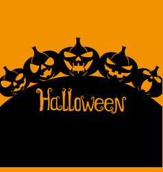 silhouettes of halloween pumpkins vector image