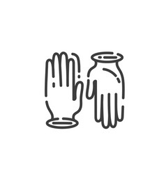 simple line art icon work gloves in trendy vector image