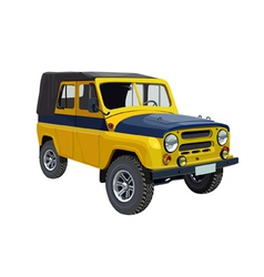 Soviet police car UAZ yellow blue vector