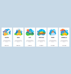 Spring website and mobile app onboarding screens vector