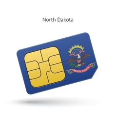 State of North Dakota phone sim card with flag vector