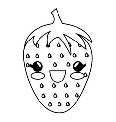 strawberry fresh kawaii character vector image