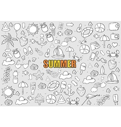Summer beach hand drawn symbols vector image