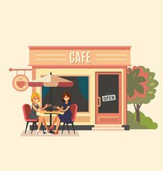 Summer cafe and two girl vector