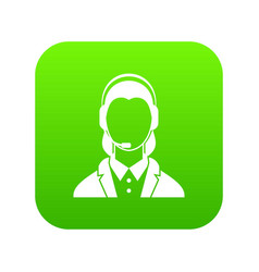 support phone operator in headset icon digital vector image